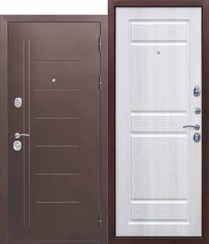 Входная дверь 10 см Троя Антик Белый Ясень