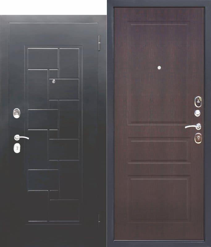 Входная металлическая дверь ГАРДА Серебро штамп Домино Венге