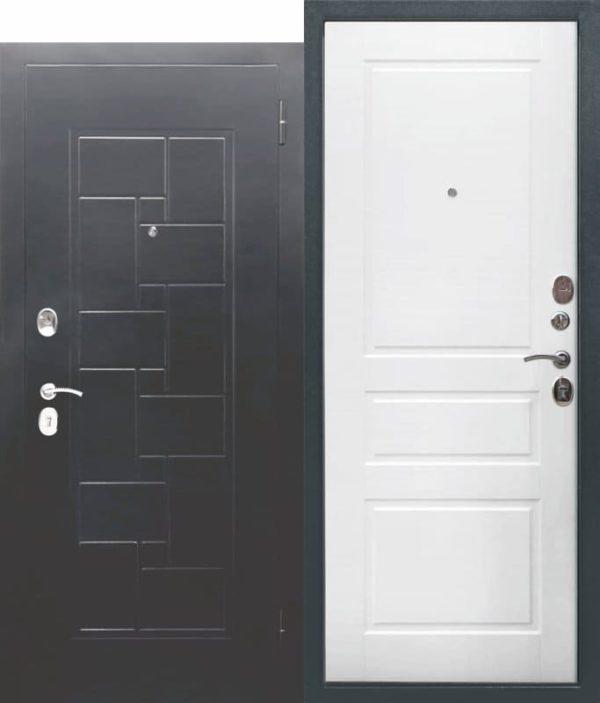 Входная металлическая дверь ГАРДА Серебро штамп Домино Ясень белый эмаль