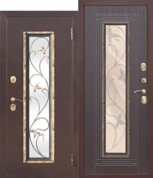 Входная металлическая дверь со стеклопакетом Плющ Венге