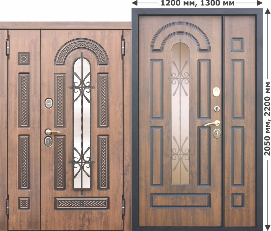 Входная металлическая дверь со стеклопакетом и ковкой Vikont 1200-1300х2050
