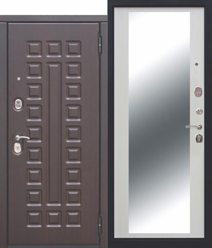 Входная металлическая дверь 10 см МОНАРХ Зеркало Белый ясень
