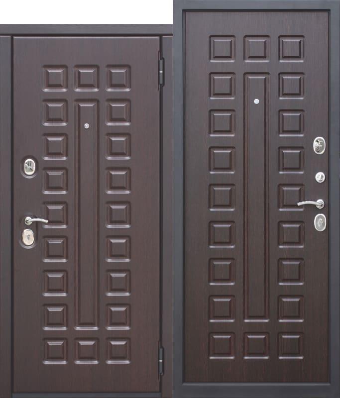 Входная металлическая дверь 10 см МОНАРХ МДФ МДФ Венге с МДФ панелями