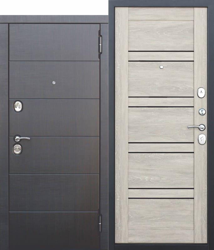 Входная металлическая дверь 10,5 см Чикаго Царга дуб шале белый с МДФ панелями