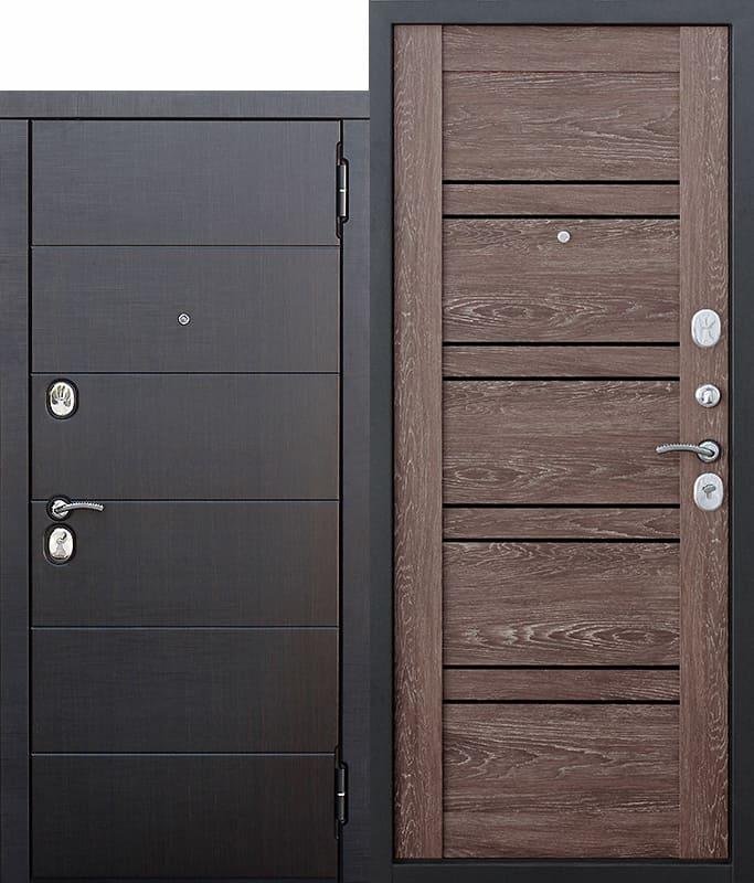 Входная металлическая дверь 10,5 см Чикаго Царга дуб шале корица с МДФ панелями