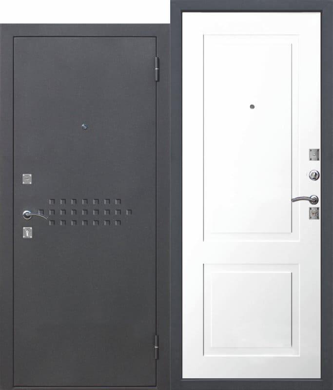 Входная металлическая дверь DOMINANTA Муар Велюр белый снег