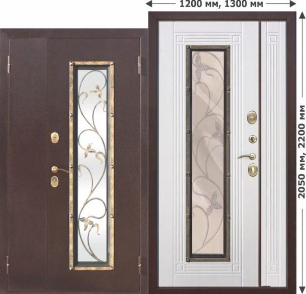 Входная металлическая нестандартная дверь со стеклопакетом Плющ 1200х2050, 1300х2050 Белый