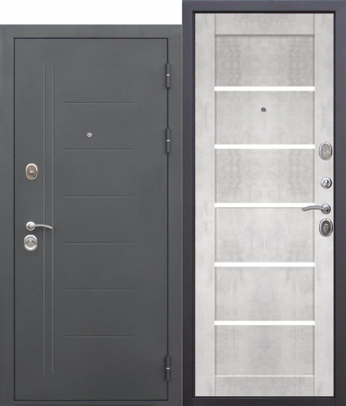 Входная дверь ТРОЯ Муар Царга бетон снежный